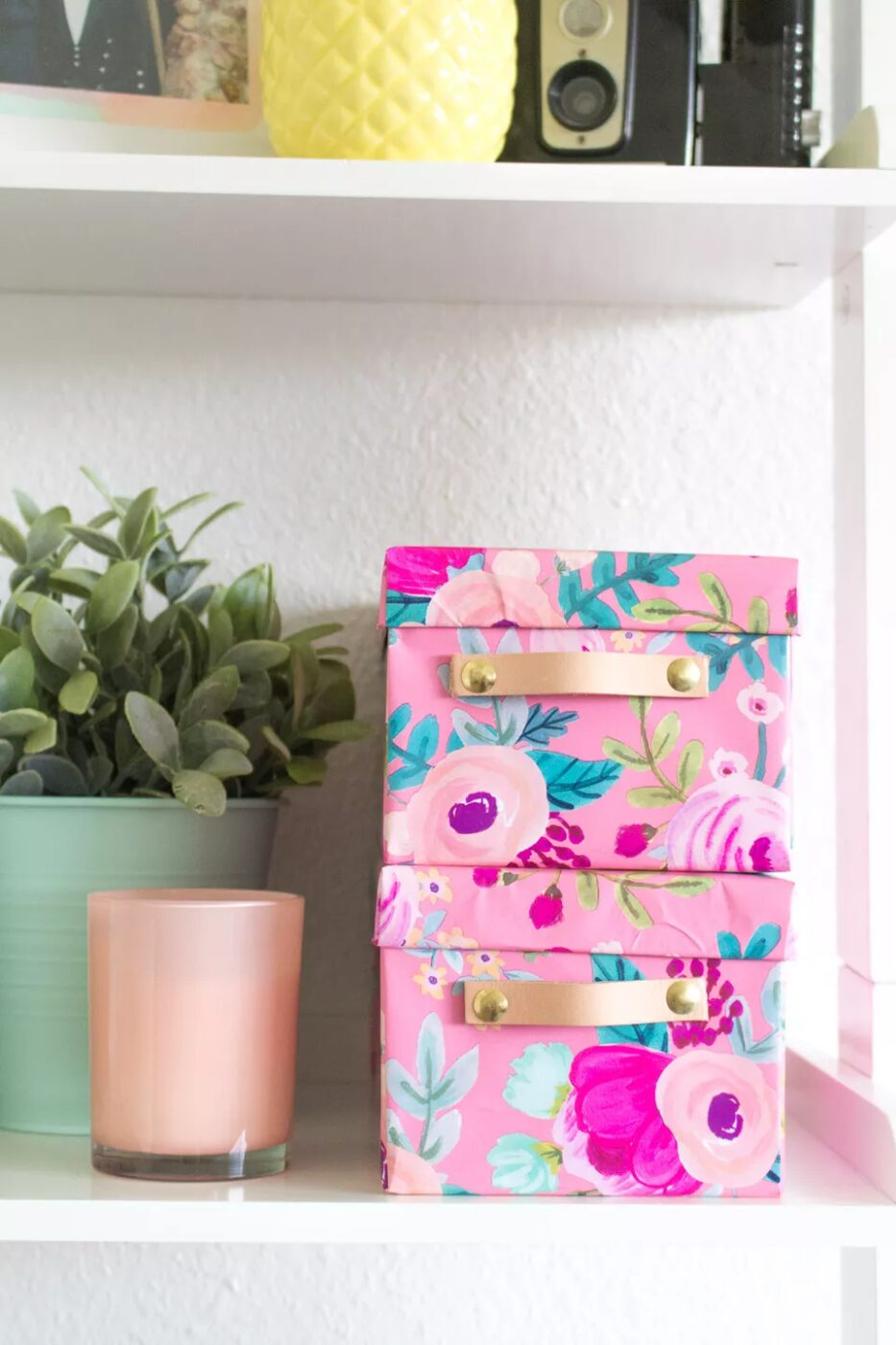 wrapping paper covered storage boxes