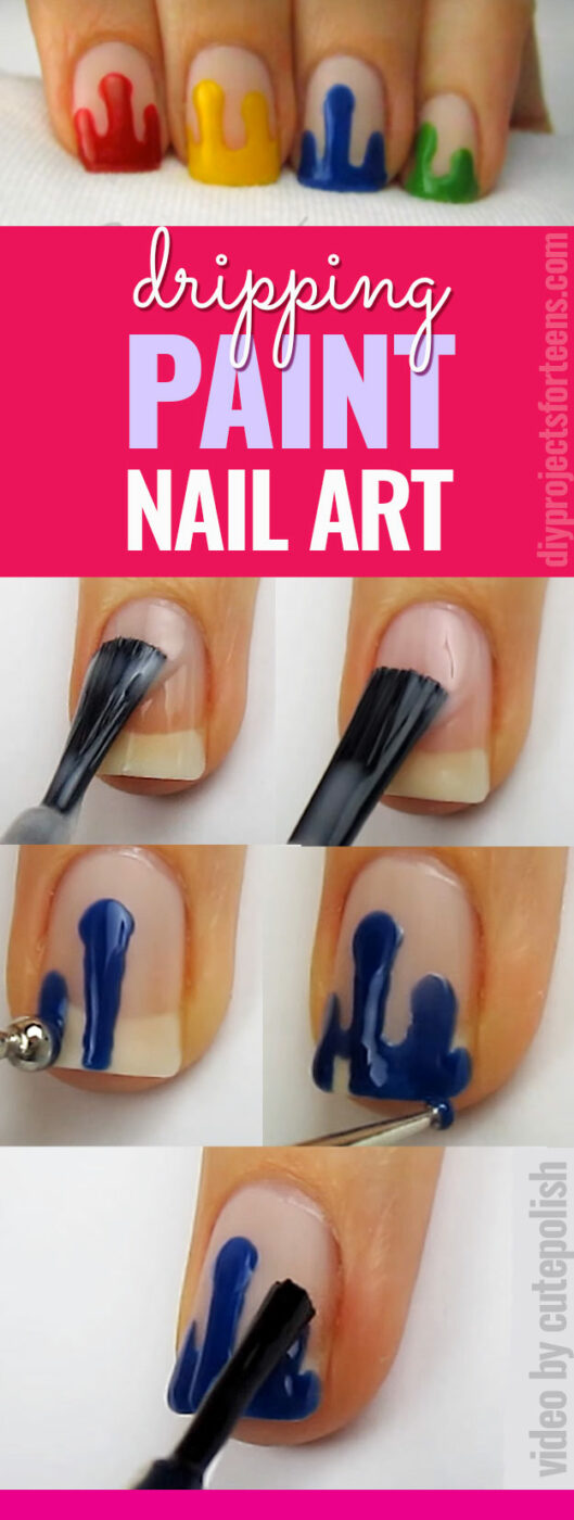 Cool Nail Art Ideas - Dripping Paint Nail Polish - Fun for Teens and Tweens- Nail Polish Design Ideas- Candy Coat Stars and Stripes Nail Design Tutorial - Easy Nail Art Tutorials - Fun and Easy DIY Nail Designs - Step By Step Tutorials and Instructions for Manicures at Home -