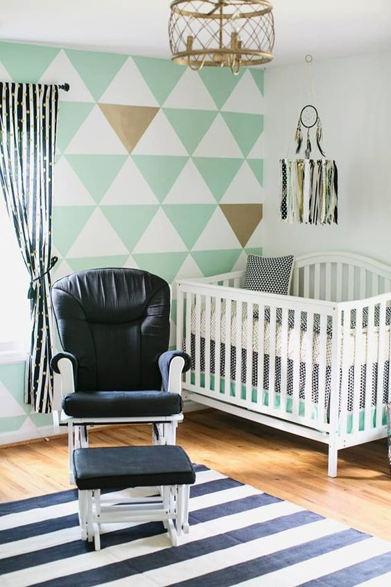 Very simple but beautiful! | Modern Mint, Black and White Nursery with Triangle Accent Wall