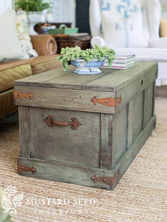 Distressed Barnwood Trunk Table
