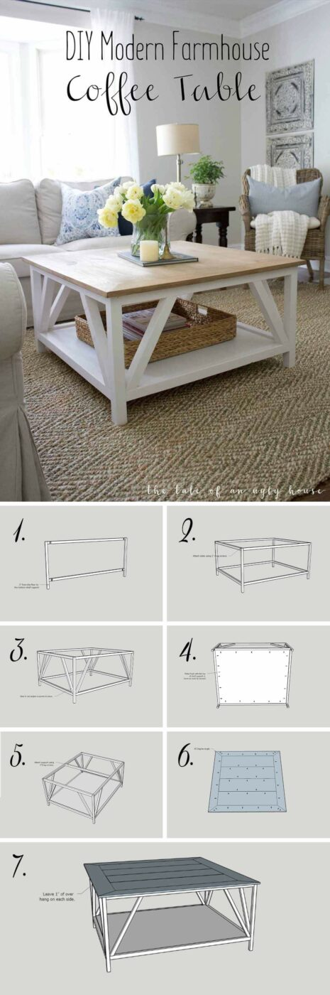 15 Easy Farmhouse Style DIY Coffee Table - DIY farmhouse wood coffee table, DIY farmhouse wood coffee, DIY Farmhouse Decor Ideas, DIY Farmhouse, DIY coffee table, coffee table design, coffee table decorating, coffee table