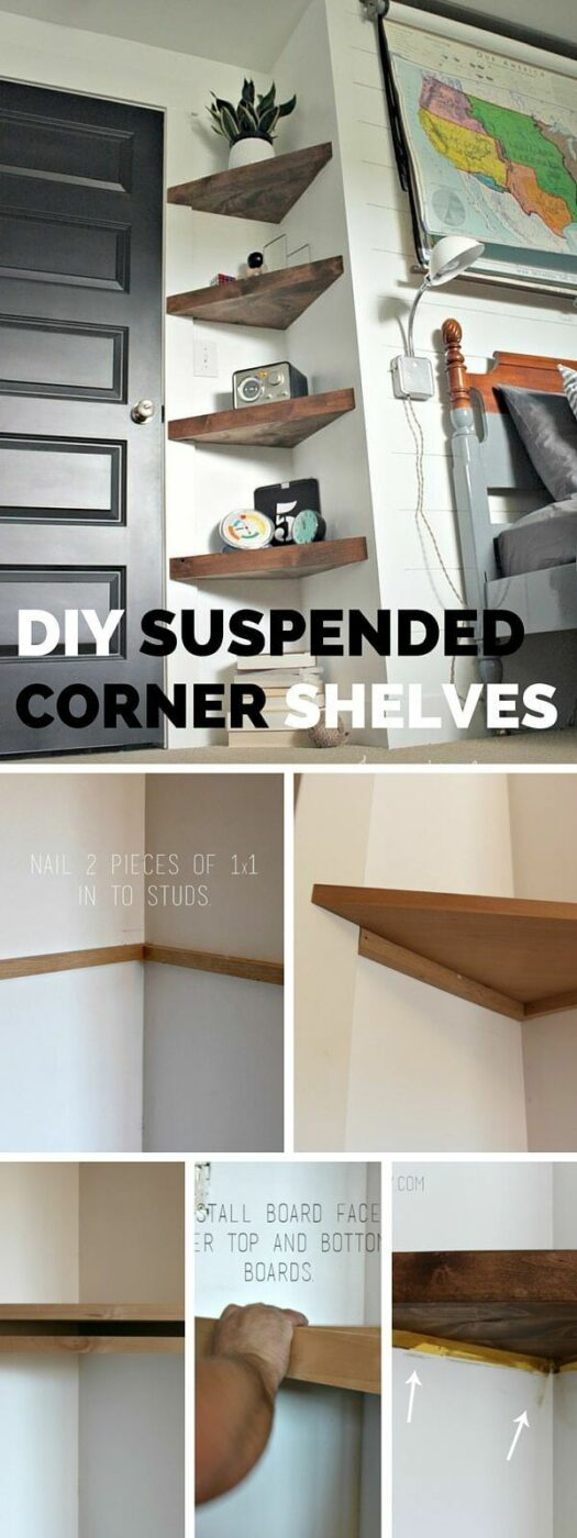 Cheap And Elegant Corner Shelves For Ornaments And Plants