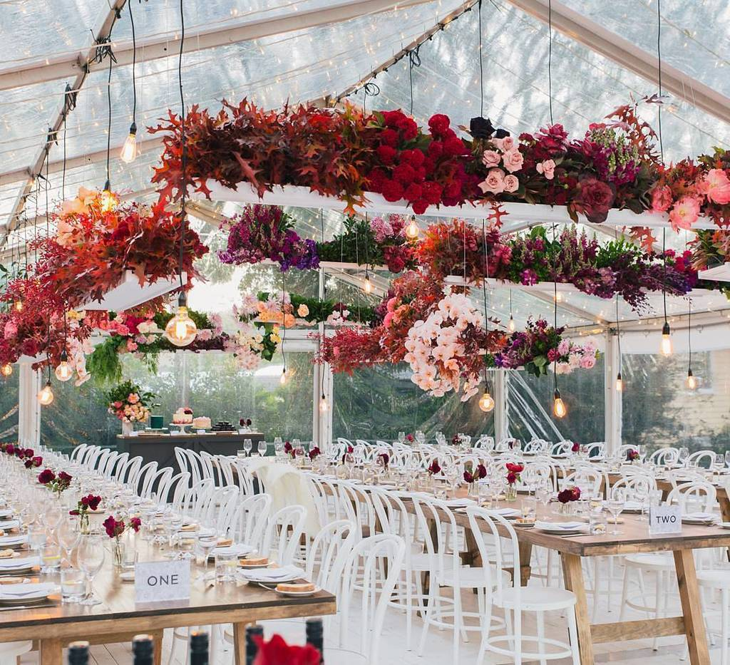 floral chandelier for floral wedding reception