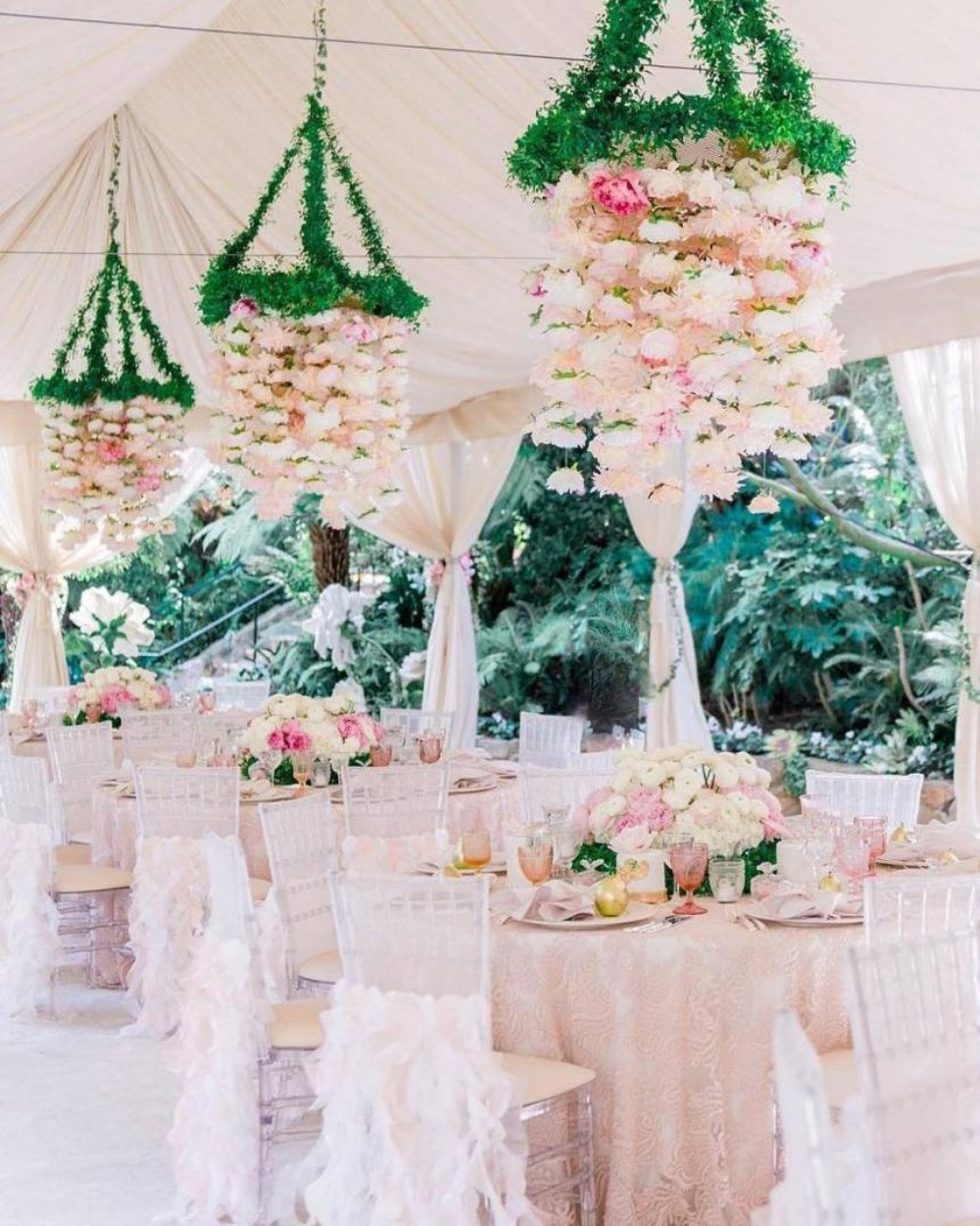 hanging flower chandelier for garden wedding reception