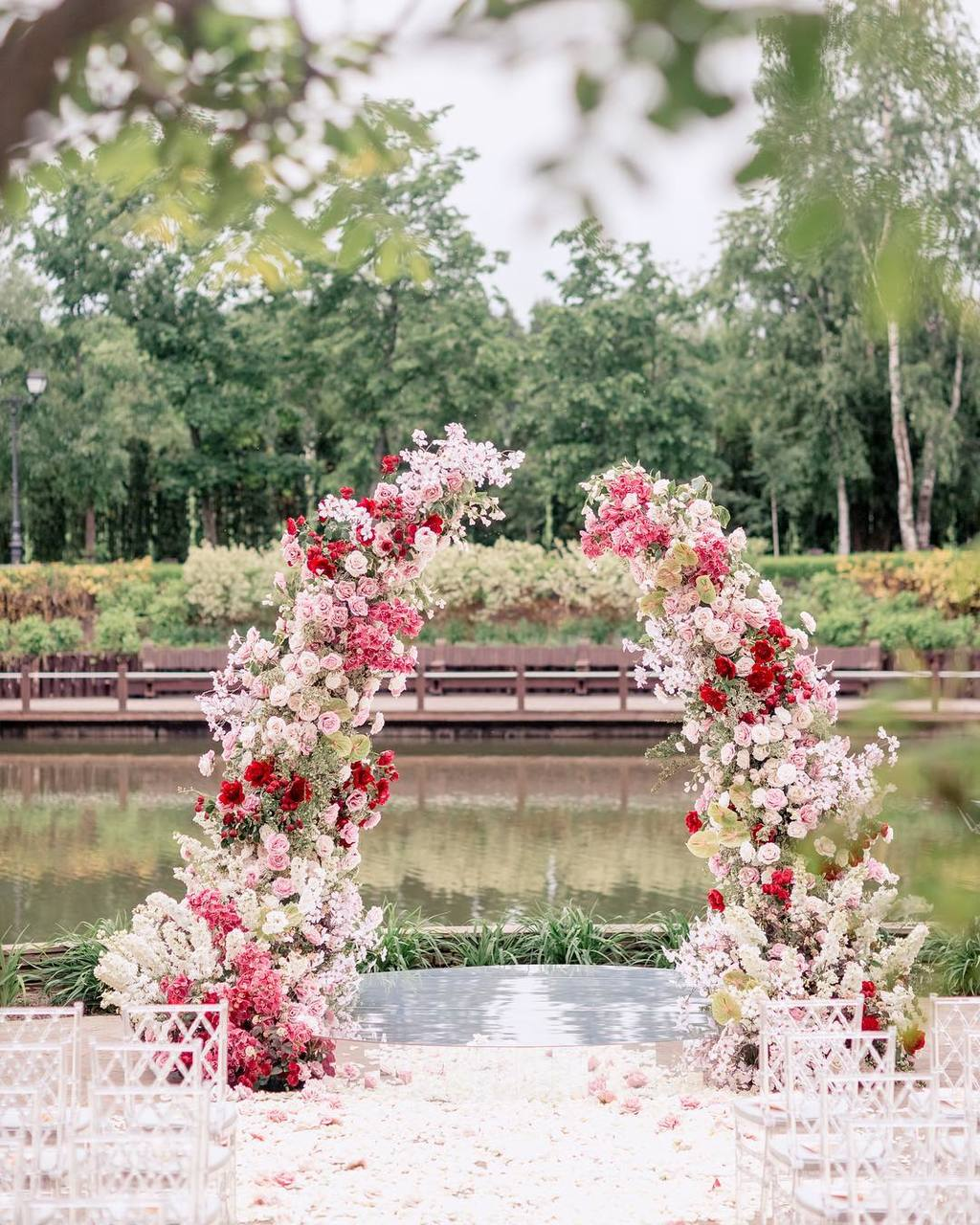 majestic floral arch for garden wedding
