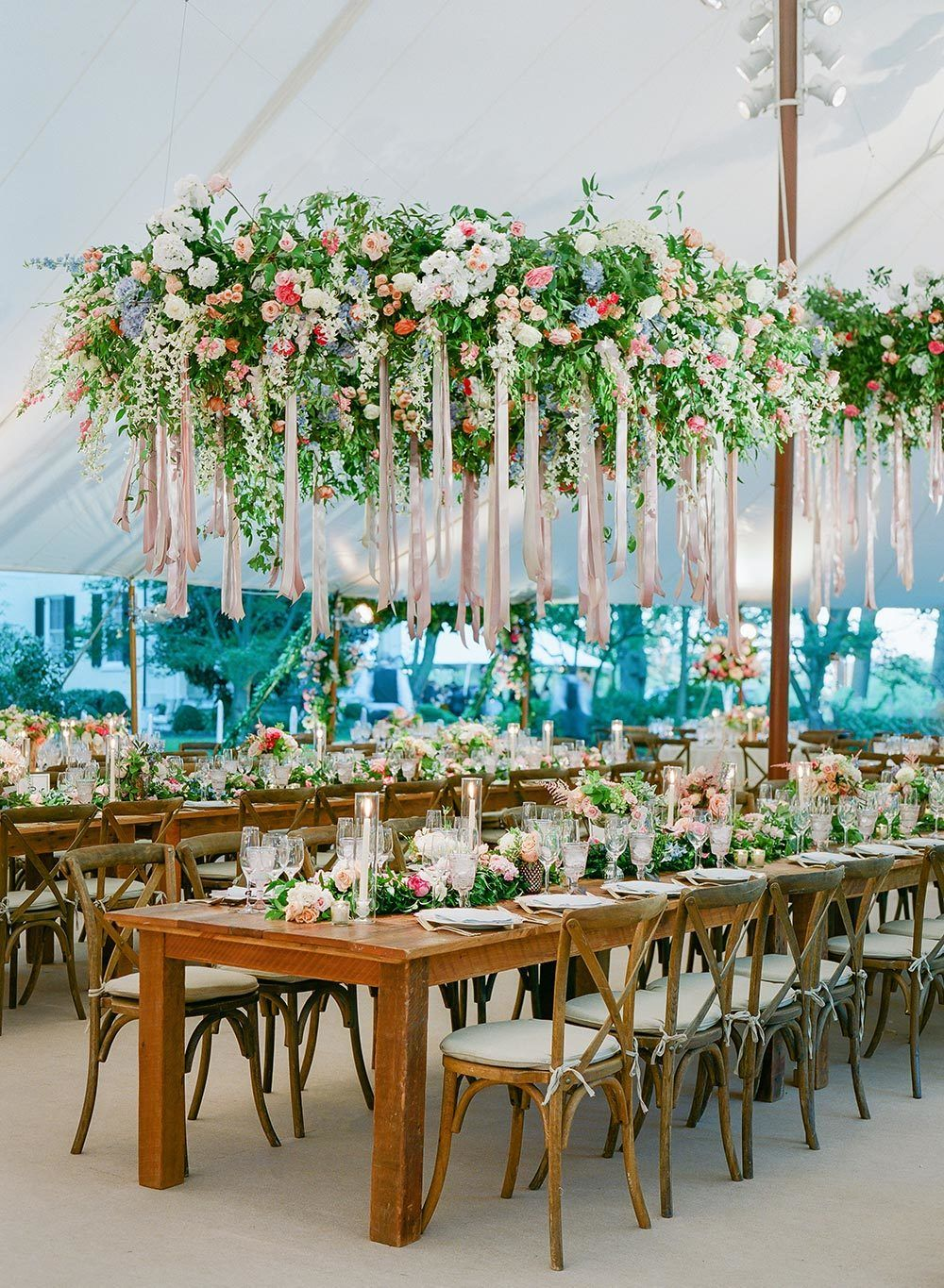 hanging floral wedding chandeliers with pink laces