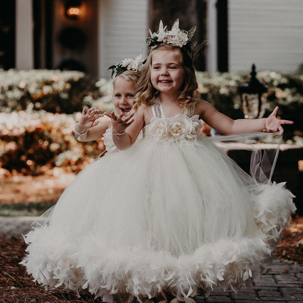 large tutu flower girl dress with feathers
