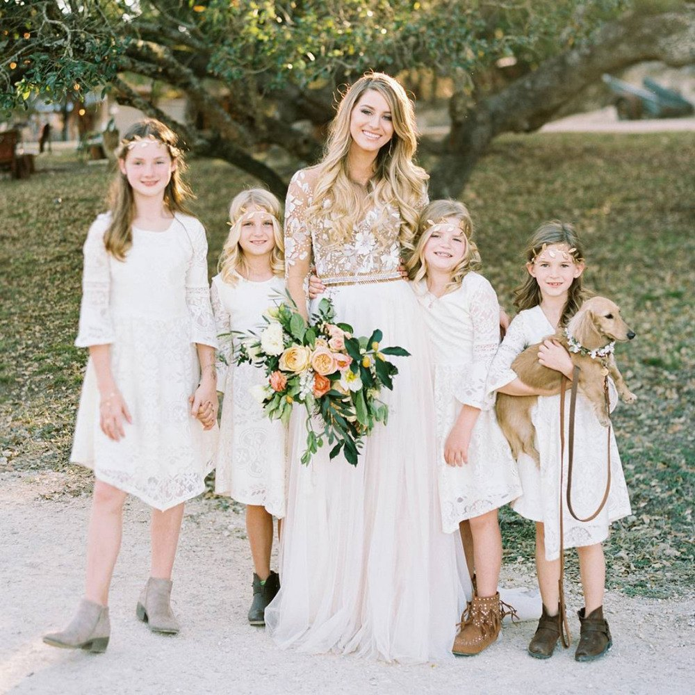 boho long sleeve flower girl dresses
