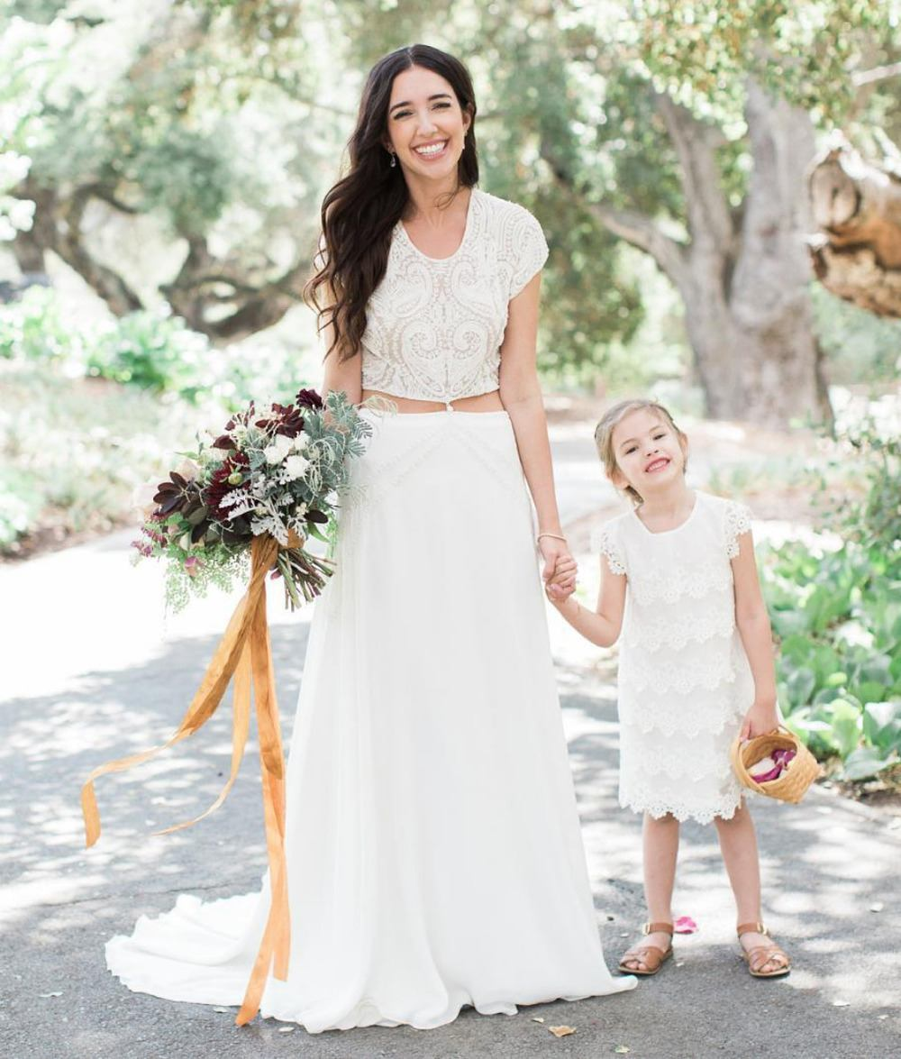 boho ruffled flower girl dress