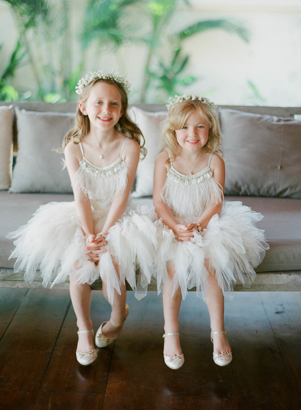 feathered flower girl dresses