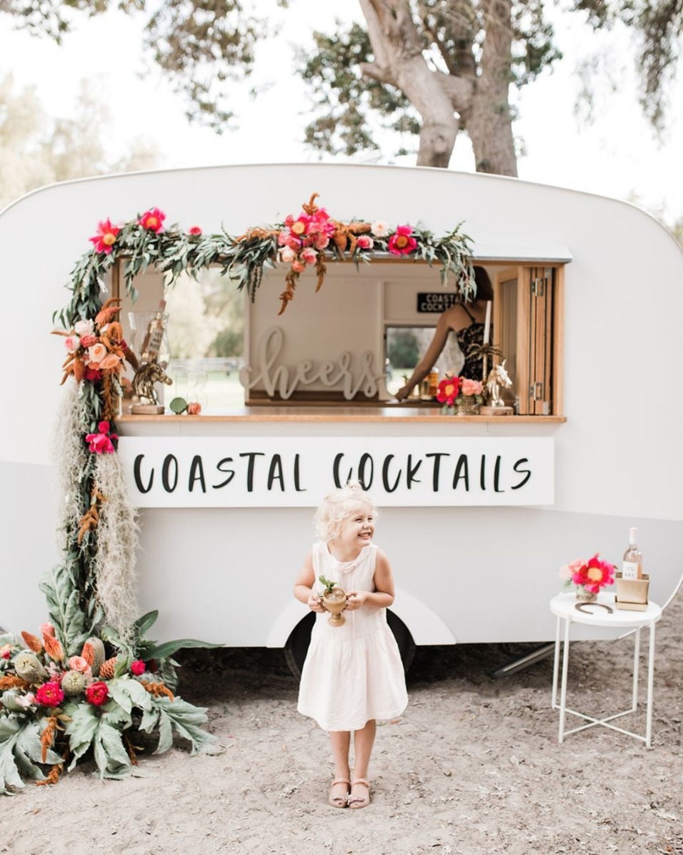 knee-length flower girl dress with craft cocktail tin camper