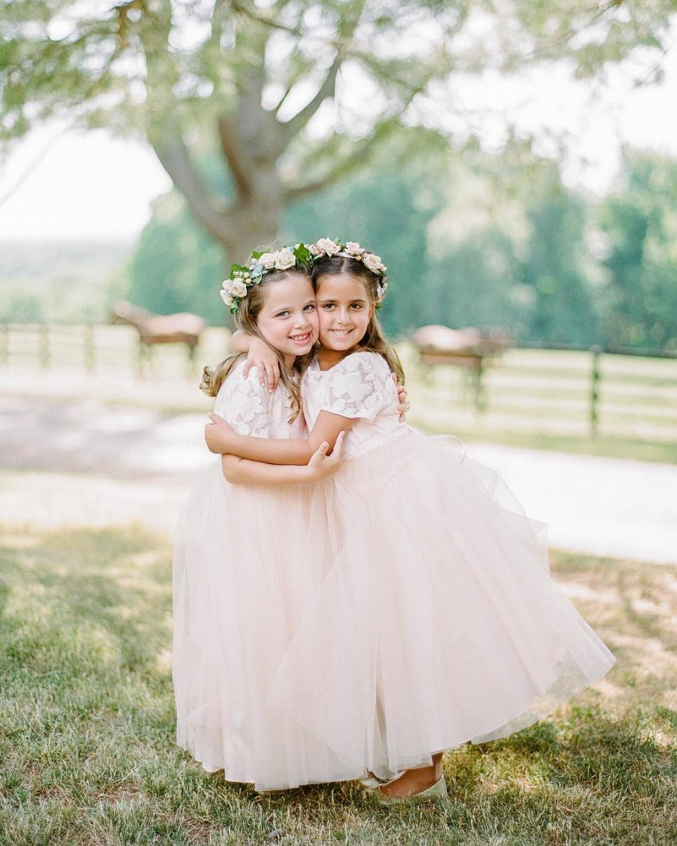 pink tulle and white lace flower girl dresses
