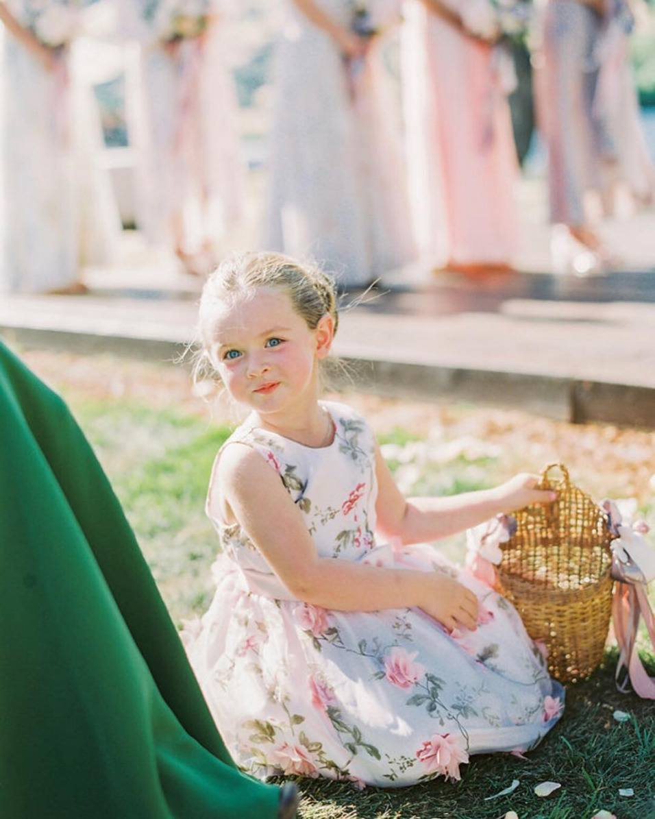 floral printed flower girl dress
