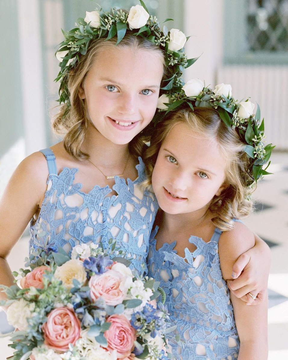 blue lace flower girl dresses
