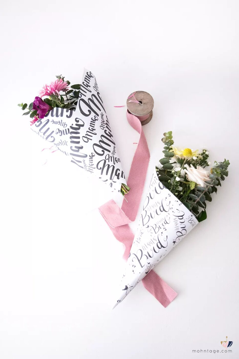 flowers wrapped with wrapping paper