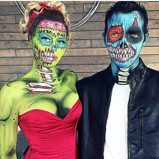 Pop Art Zombie Couple for Halloween Costume Ideas for Couples