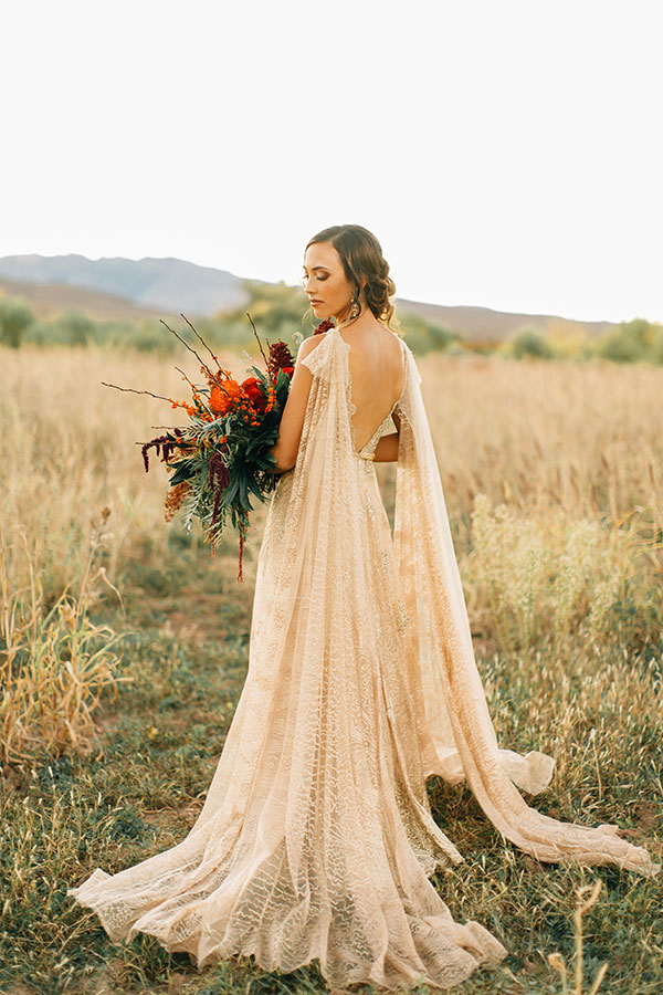 gold wedding dress with cape extensions