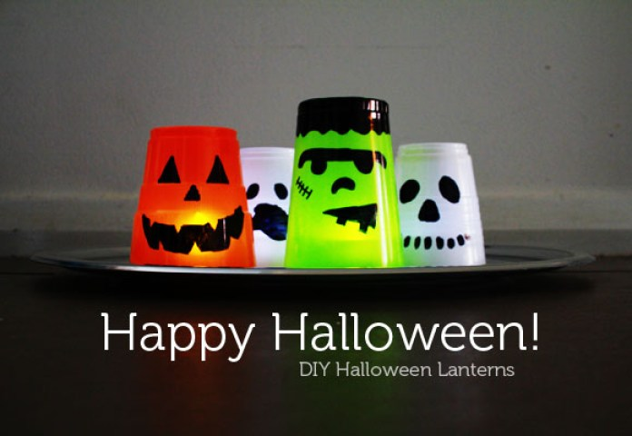 Plastic Cup Halloween Lantern Monster DIY