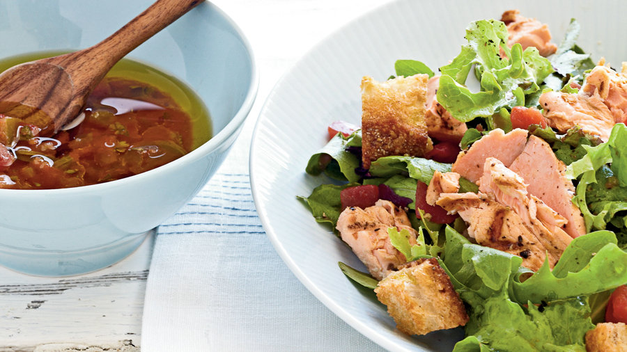 1203 Grilled Salmon Salad with Salsa Dressing