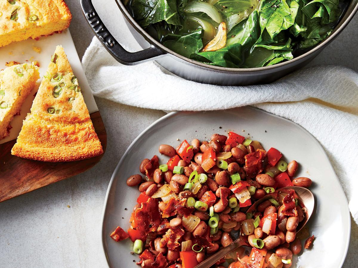 Braised Collard Greens and Bacon-Pepper Pinto Beans