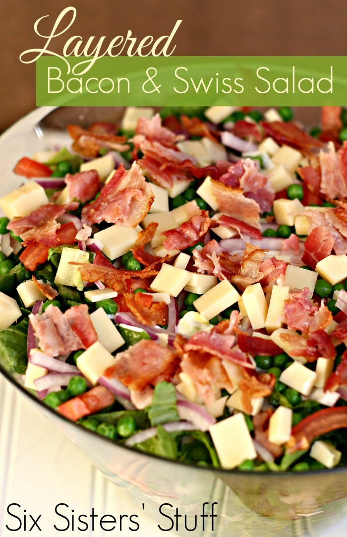 layered bacon and swiss salad | 25+ delicious salad recipes