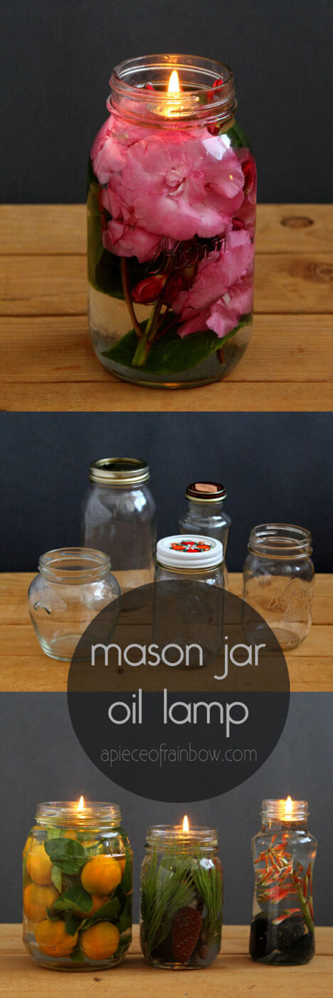 DIY Mason Jar Oil Lamp With Candles