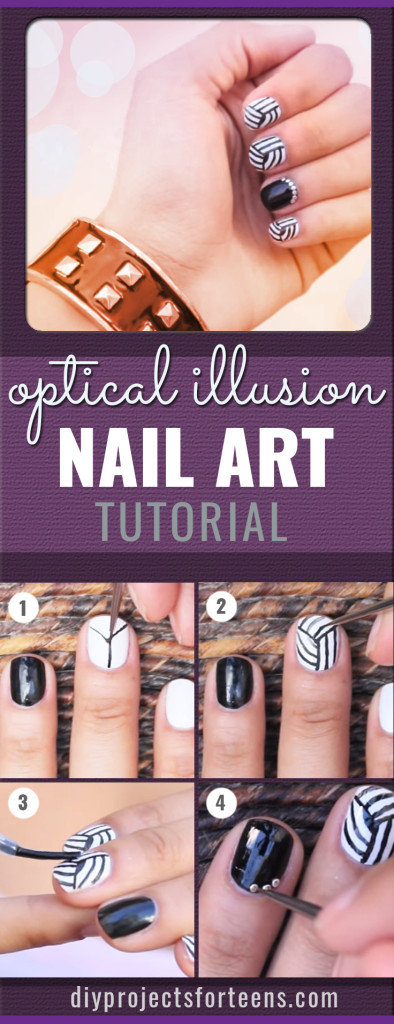 Cool Nail Art Ideas - DIY Optical Illusion Nail art Tutorial - Fun Nail Art - Fun and Easy DIY Nail Designs - Step By Step Tutorials and Instructions for Manicures at Home -