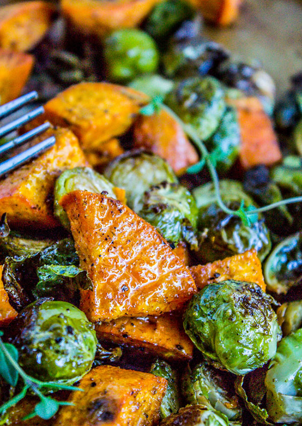 roasted Sweet Potatoes and Brussel Sprouts | 25+ Brussels Sprout Recipes