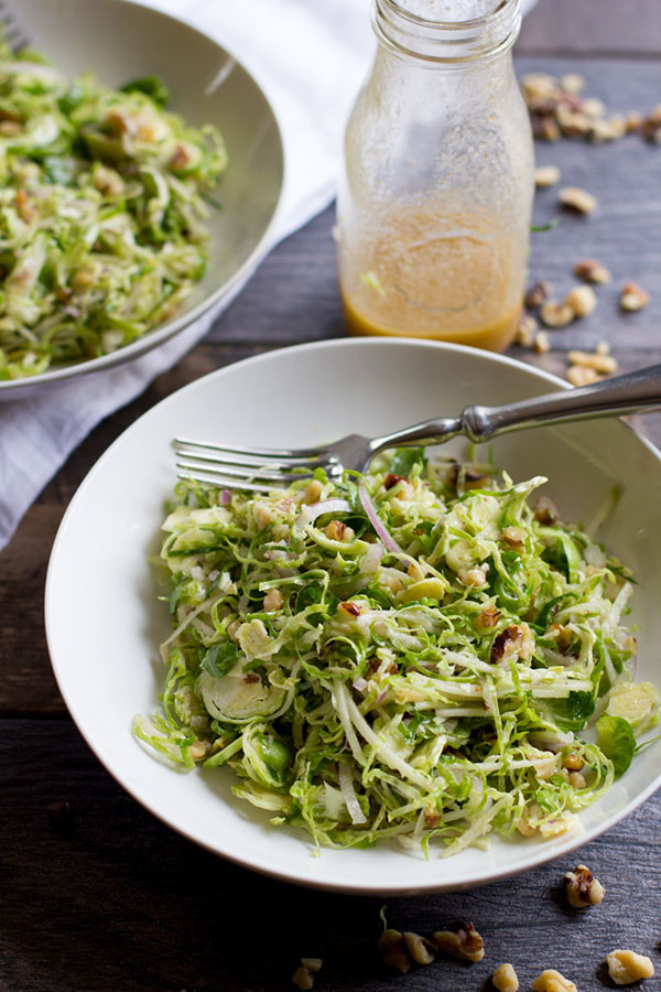 Shaved brussels sprout salad with apples and walnuts | 25+ Brussels Sprout Recipes