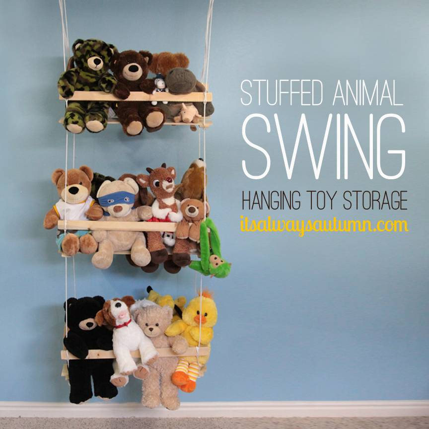 20+ Creative DIY Ways to Organize and Store Stuffed Animal Toys --> DIY Hanging Toy Storage - Stuffed Animal Swing