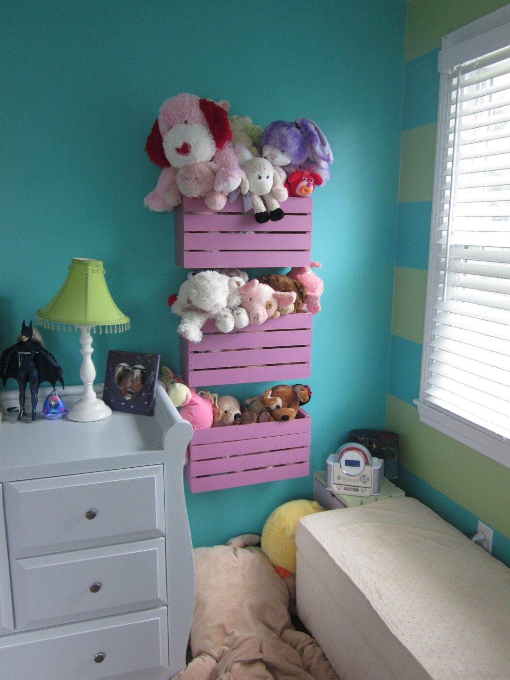 20+ Creative DIY Ways to Organize and Store Stuffed Animal Toys --> Crates Mounted on the Wall as Storage Bins for Stuffed Animals