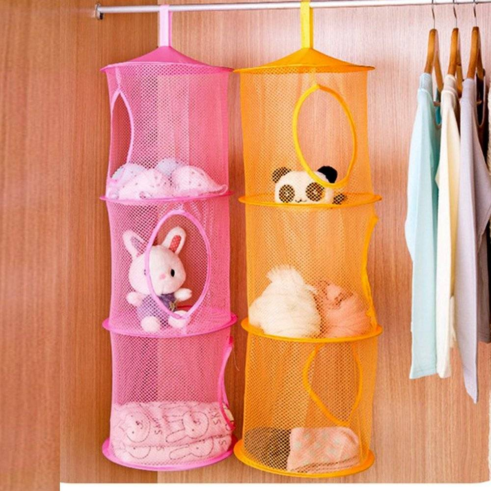 20+ Creative DIY Ways to Organize and Store Stuffed Animal Toys --> Hanging Mesh Storage Basket Toys Organizer