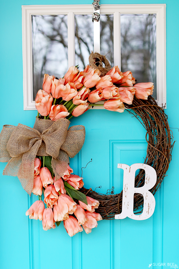 20 Pretty DIY Spring Wreaths - Spring Wreaths, diy wreath, DIY Spring Wreaths, diy spring wreath, diy spring home decor