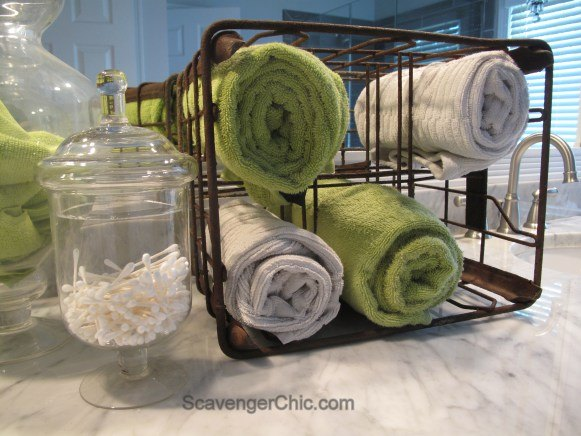 Towel Storage From Milk Crate