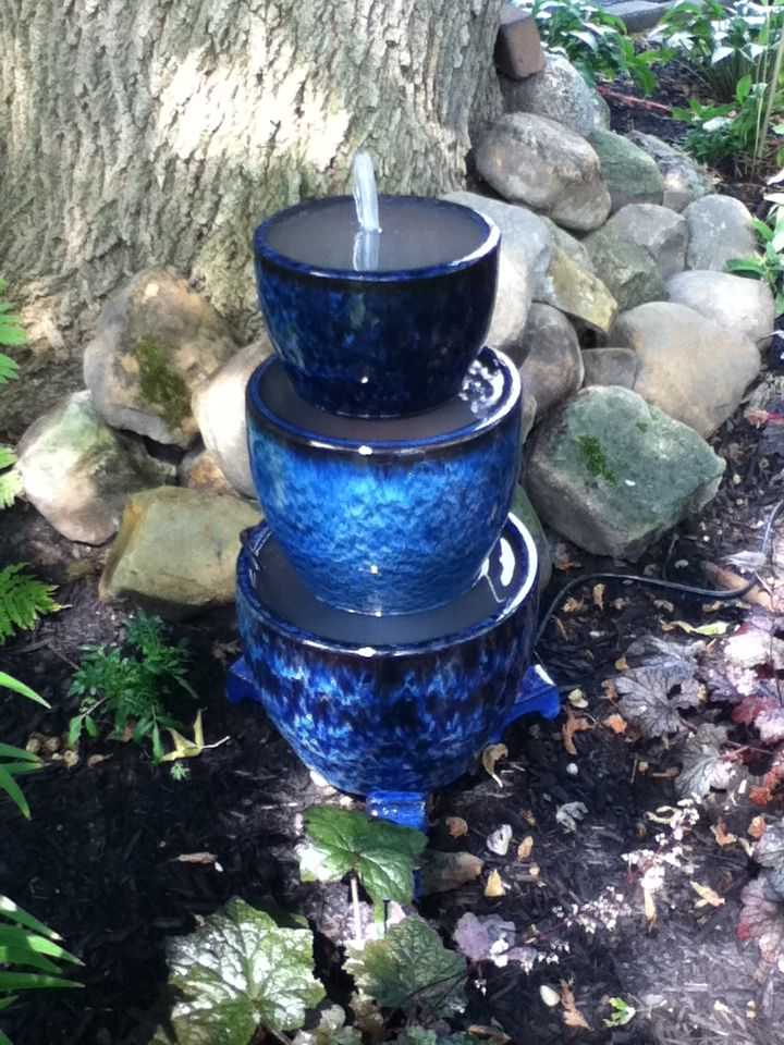 40+ Creative DIY Water Features For Your Garden --> DIY Three Tiered Potted Fountain