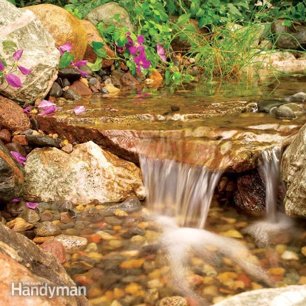 40+ Creative DIY Water Features For Your Garden --> Build a Backyard Waterfall and Stream