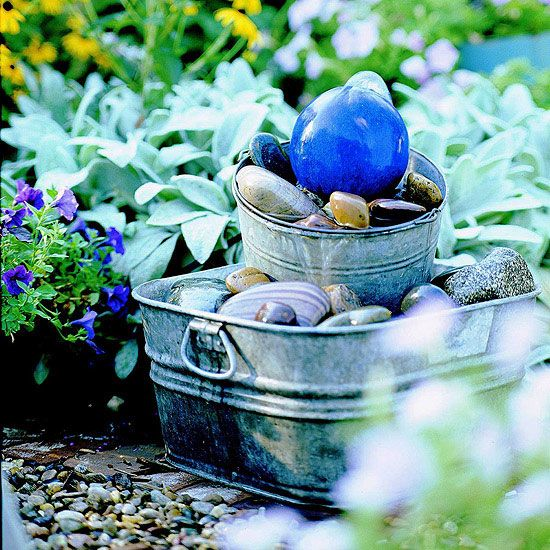 40+ Creative DIY Water Features For Your Garden --> DIY Gazing Ball Bubbler Fountain