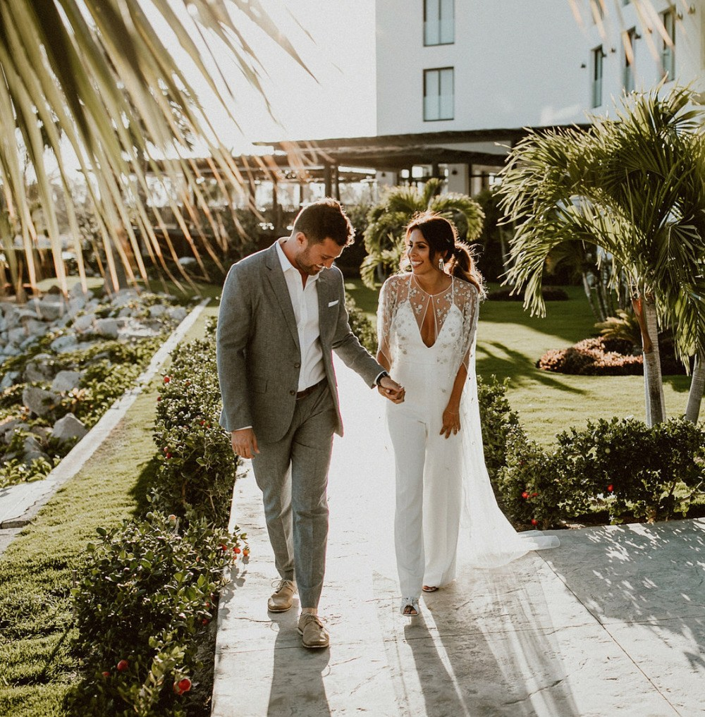 bridal jumpsuit with sheer bridal cape
