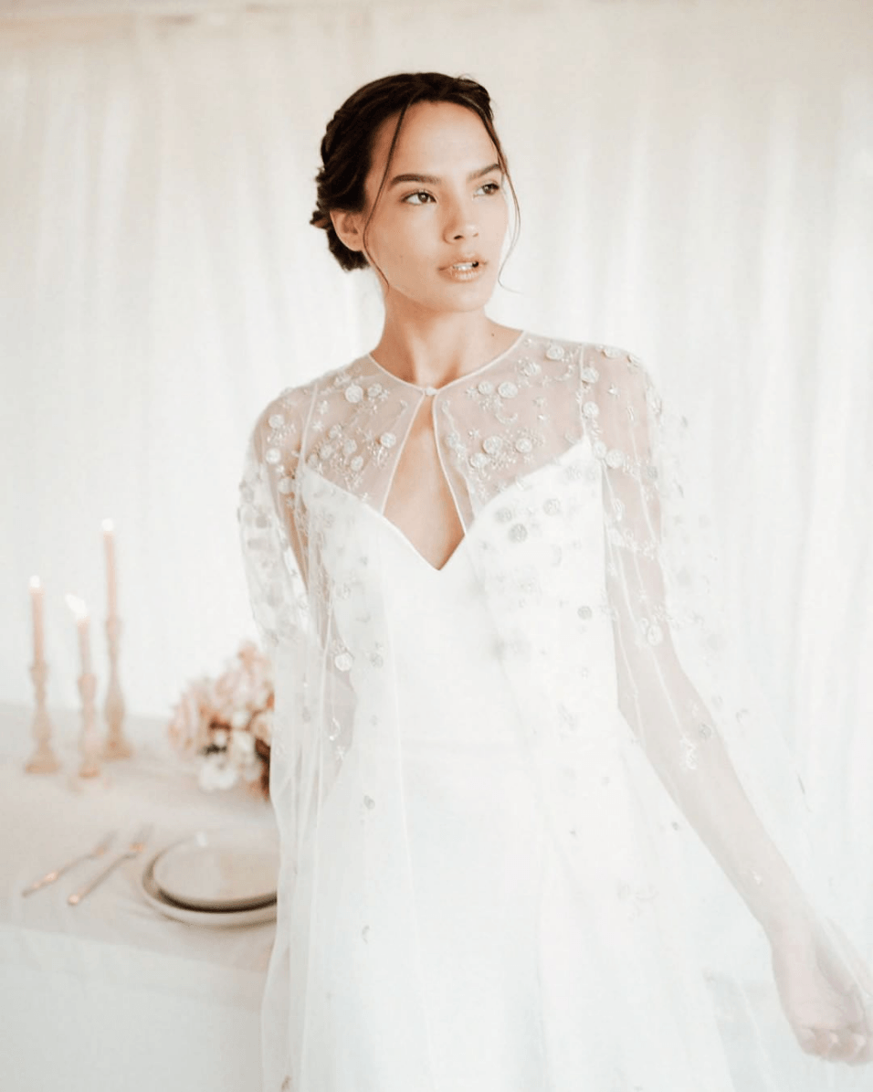 lightweight bridal cape with celestial appliques