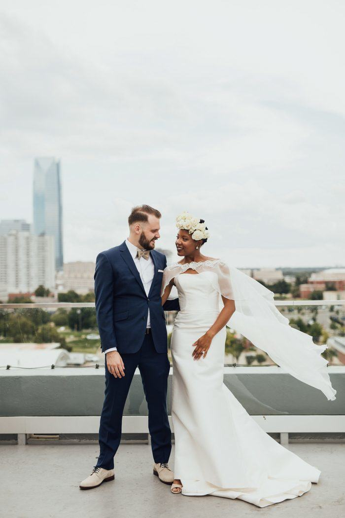 midi length bridal cape for a city rooftop wedding