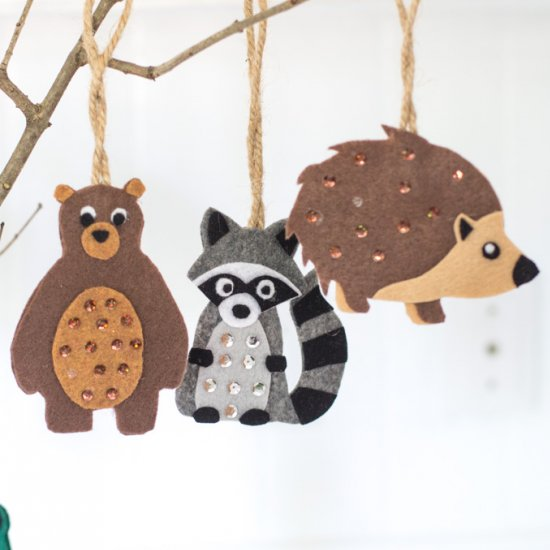 Woodland felt ornaments