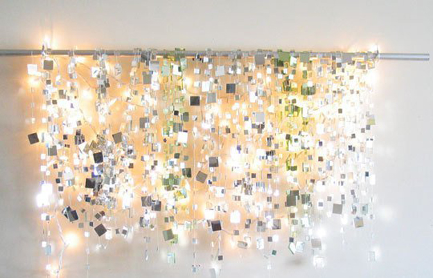 String Light DIY ideas for Cool Home Decor | Sparkle Mirror Garlands are Fun for Teens Room, Dorm, Apartment or Home | http://diyprojectsforteens.com/diy-string-light-ideas/