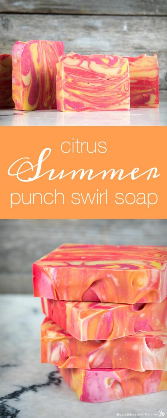 Soap Recipes DIY - Citrus Summer Punch Swirl Soap - DIY Soap Recipe Ideas - Best Soap Tutorials for Soap Making Without Lye - Easy Cold Process Melt and Pour Tips for Beginners - Crockpot, Essential Oils, Homemade Natural Soaps and Products - Creative Crafts and DIY for Teens, Kids and Adults http://diyprojectsforteens.com/cool-soap-recipes