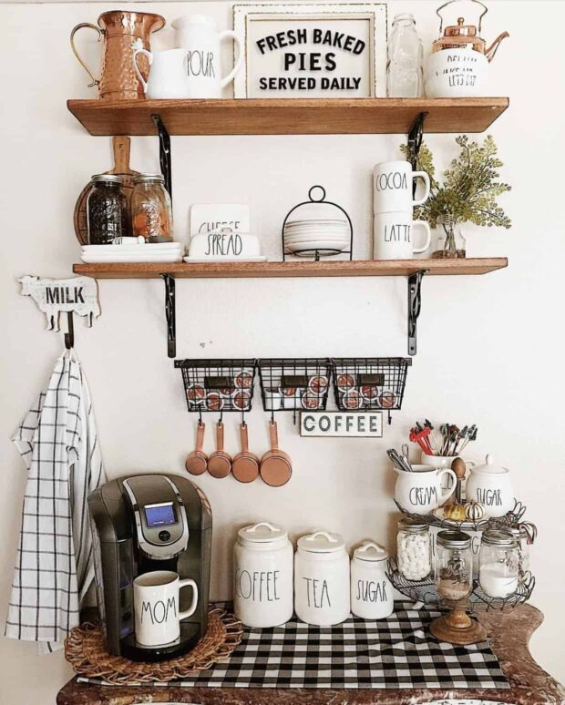 12 Charming DIY Coffee Stations For Your Home - DIY Coffee Stations, DIY Coffee Station Ideas, DIY Coffee Station, Coffee Stations Design Ideas, Coffee Stations