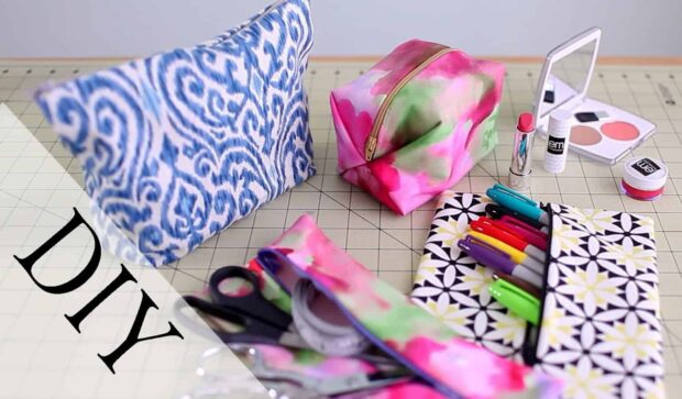 12 Adorable DIY Makeup Bags - DIY Makeup Bags, DIY Makeup Bag, DIY bags