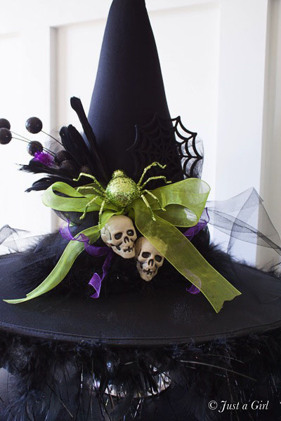 DIY Witches Hat – Halloween Decor from Just a Girl. Tutorial at TidyMom.net