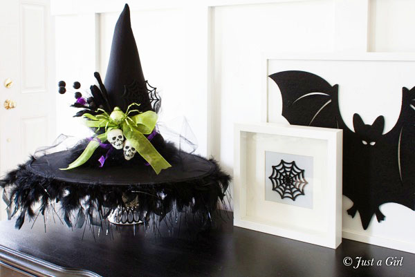 DIY Witch Hat – Halloween Decor from Just a Girl. Tutorial at TidyMom.net