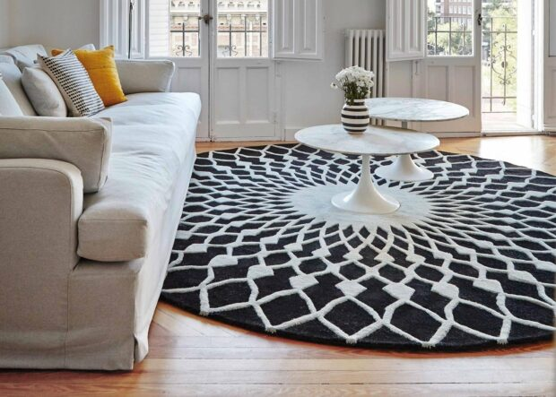 3 Ways To Get Your Home On The Area Rug Trend - shag rug, rug, round, Living room, layering, interior, home, geometric, decor, carpet, area rug