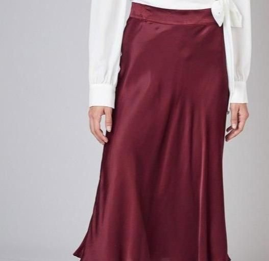The Style Tip to Wear A Satin Skirt If You're Over 50 - women fashion, style motivation, style, skirts for mature women, skirts, redskirt, red satin skirt, fashion